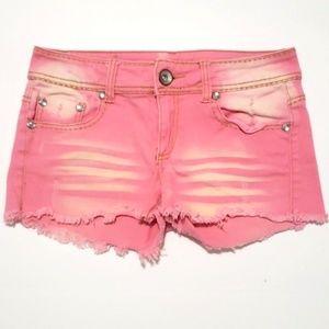 《Dollhouse》Pink Wash Jean Shorts Sz 9 Coral Gems